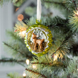 green pine cone with fawn christmas ornament