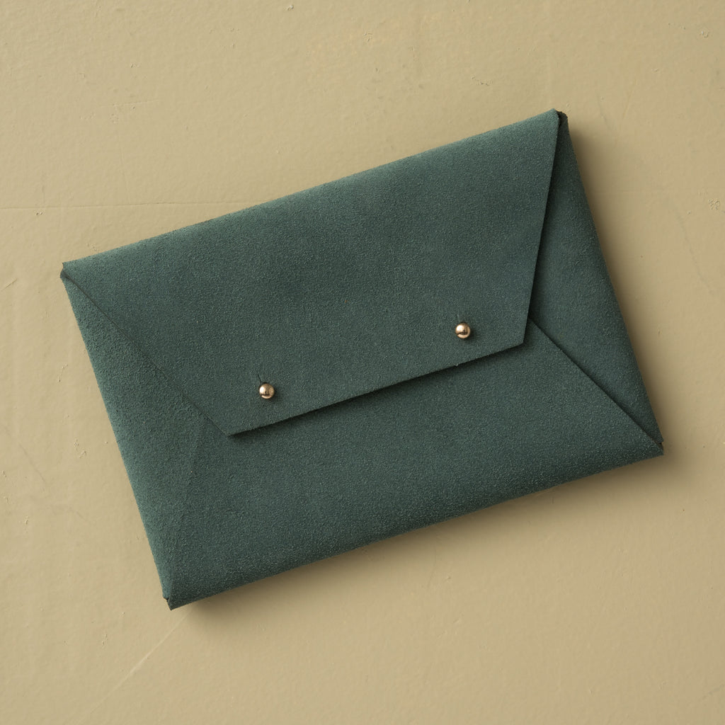 green suede leather envelope closure wallet