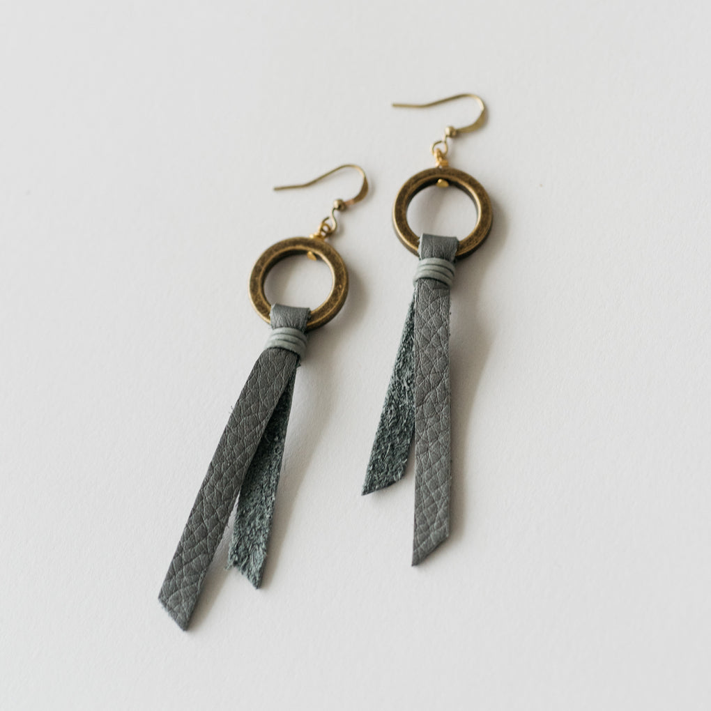 grey leather tassel earrings with brass hoop
