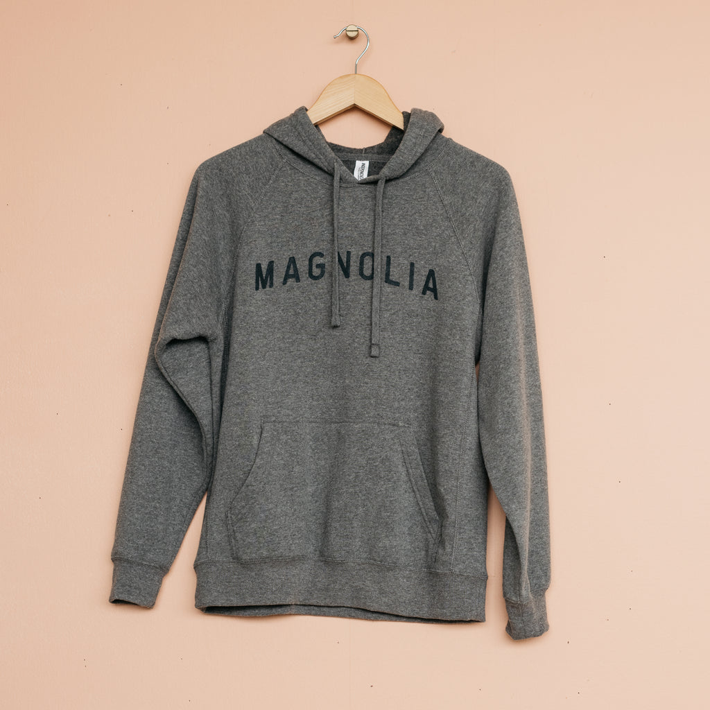 grey hoodie with magnolia logo