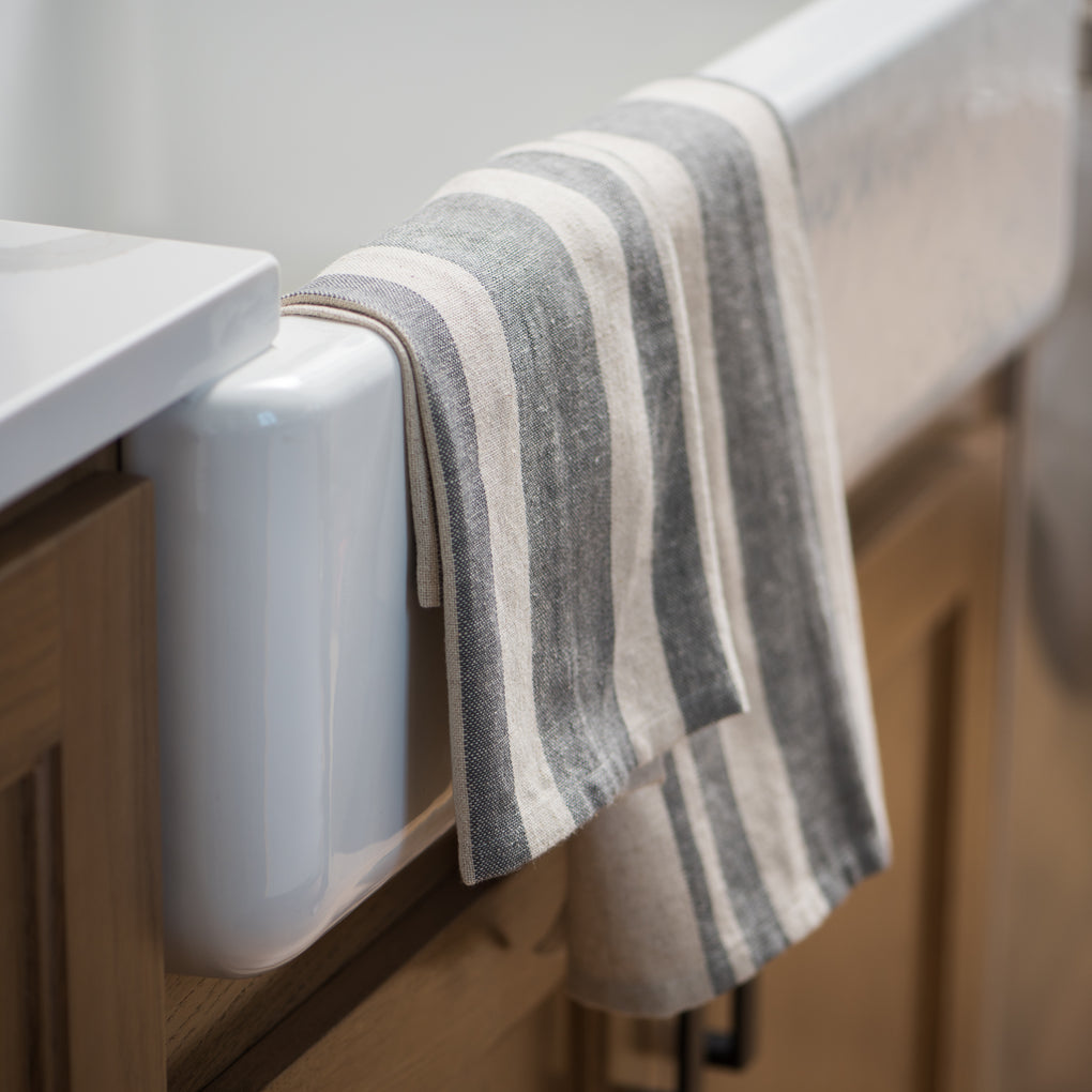 grey and cream striped kitchen towels