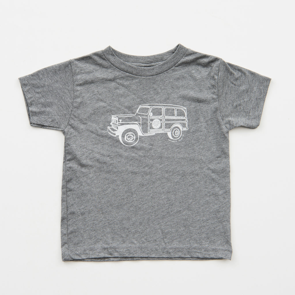 heather grey toddler shirt with magnolia truck in white