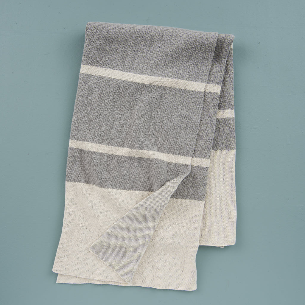 cream and light grey color blocked striped throw