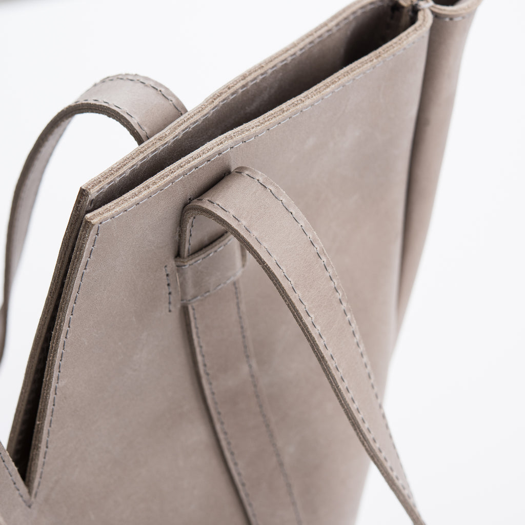 large grey leather tote
