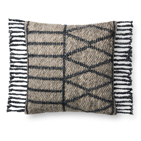 earth tone pillow with dark grey geometric pattern with tassel fringe