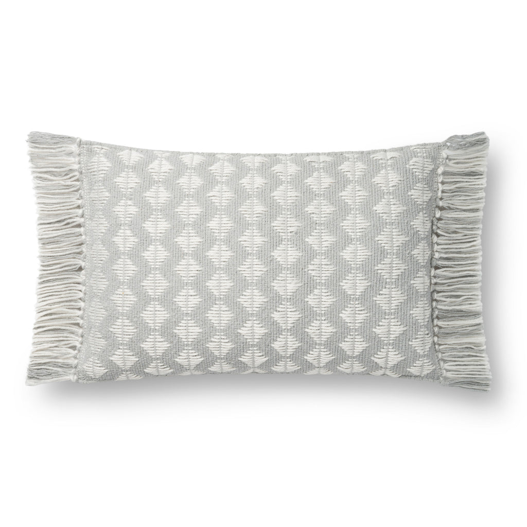 light grey rectangular pillow with white diamond pattern and light blue tassel fringe