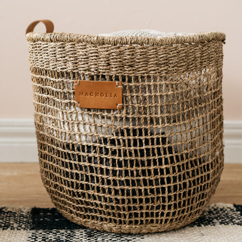 grid weave basket with leather handle