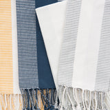 cotton striped tea towel with tassels