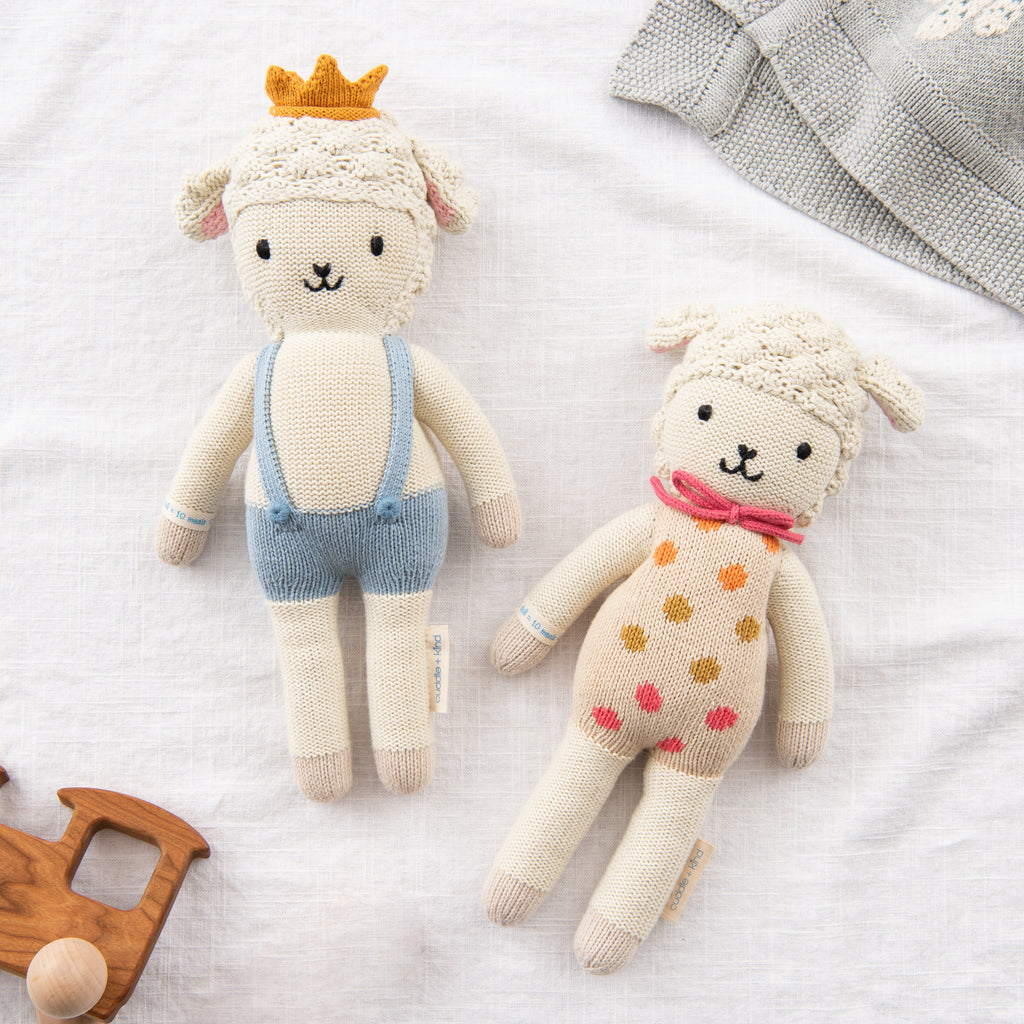 hand knit lamb kids doll