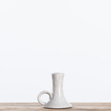 grey hand-thrown ceramic taper candle holder with handle