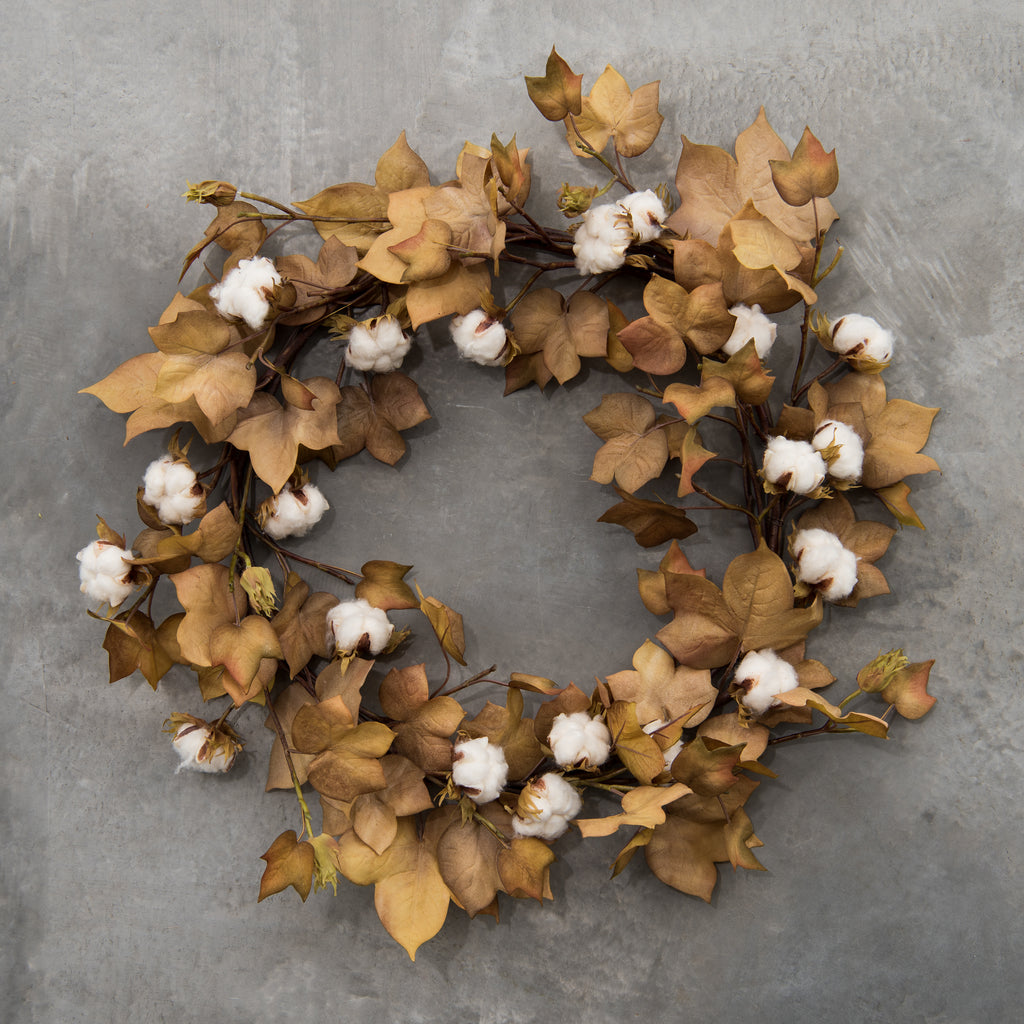 faux harvest cotton wreath