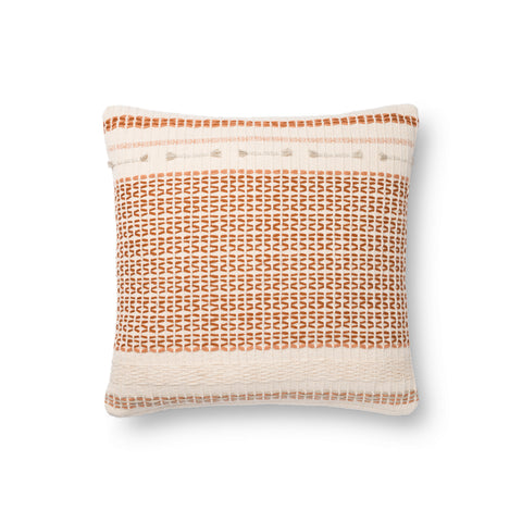 white square modern pillow with dark orange diamond grid pattern and other texture detail