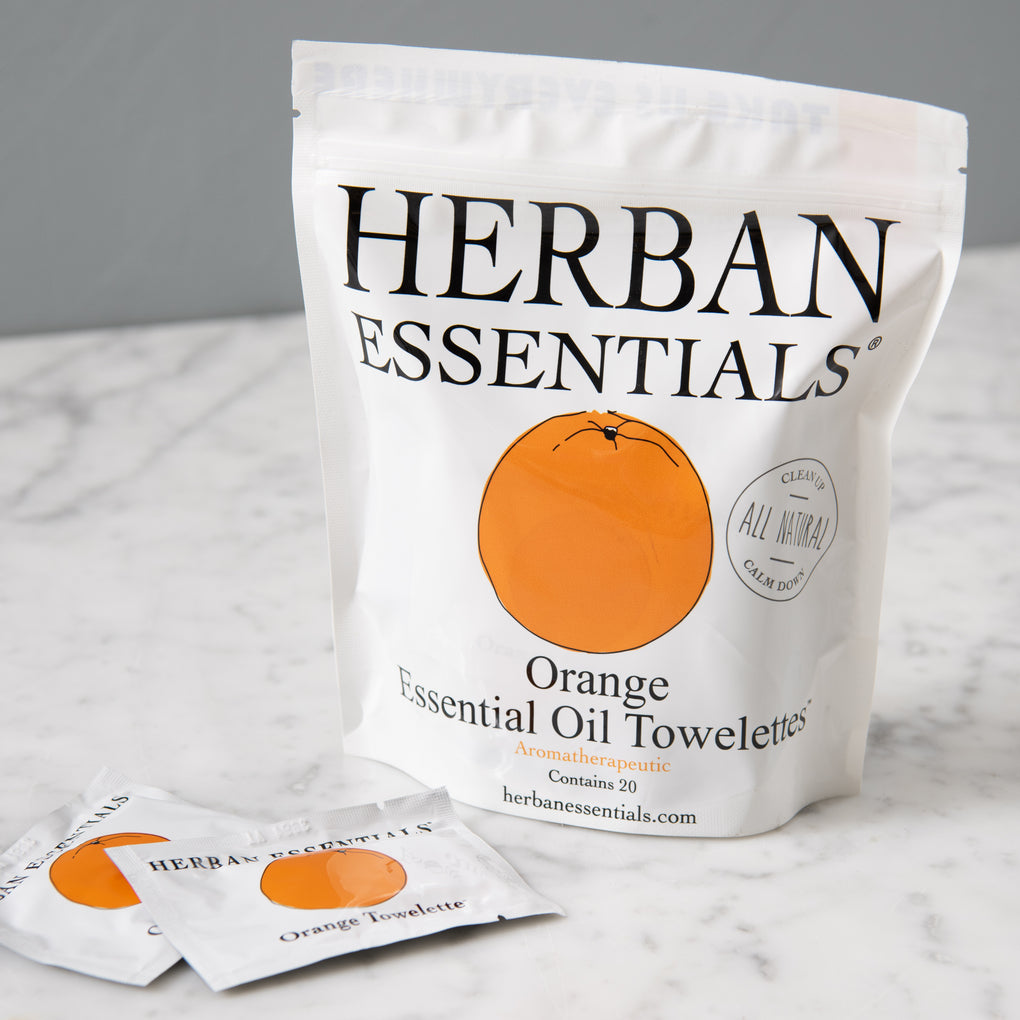 orange fruit essenced moist towelettes