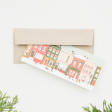 vintage city building faces holiday card
