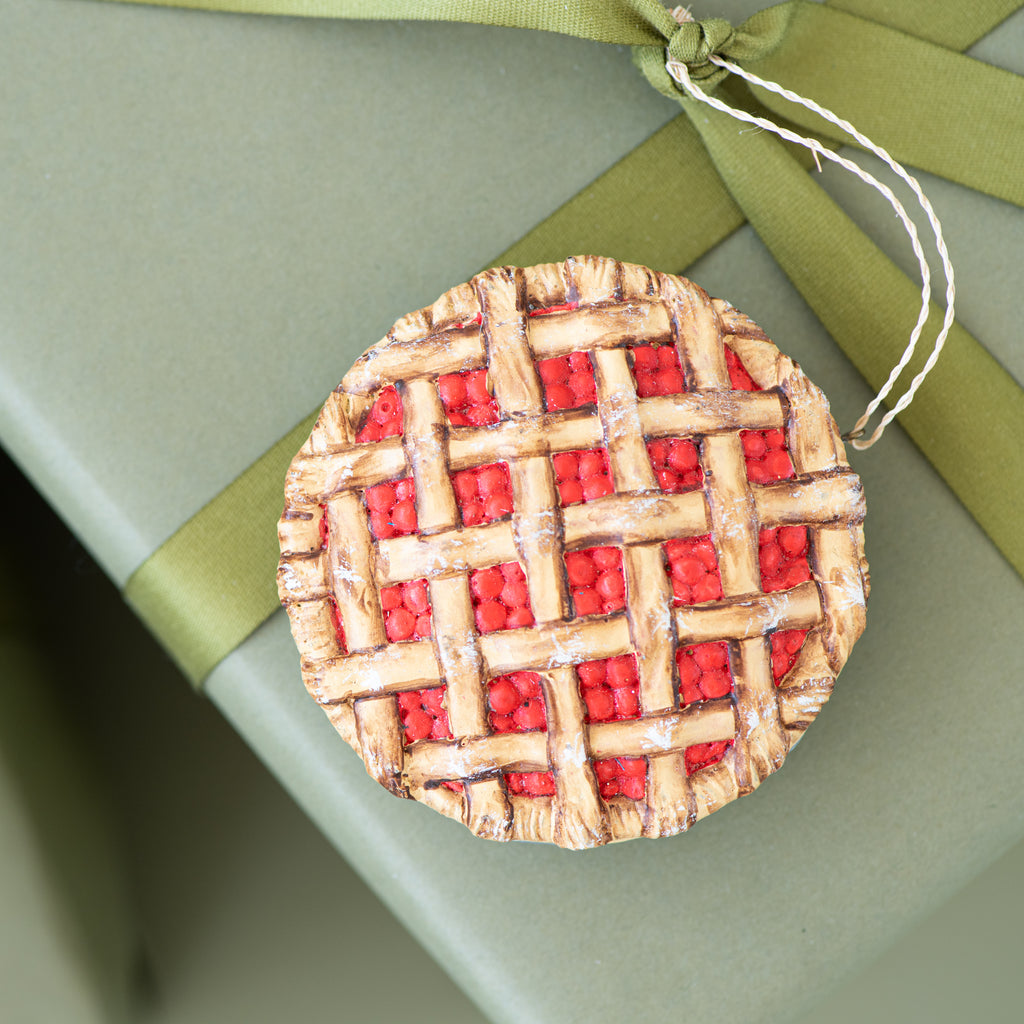lattice top pie christmas ornament