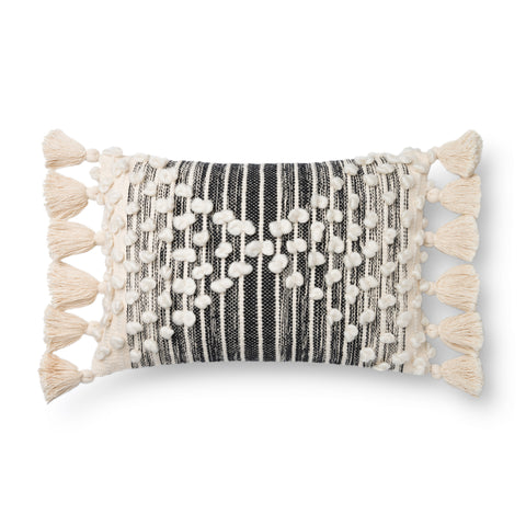 black and white striped lumbar pillow with raised white dot detail and white side tassels