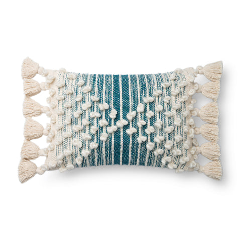 teal-blue and white striped lumbar pillow with raised white dot detail and white side tassels