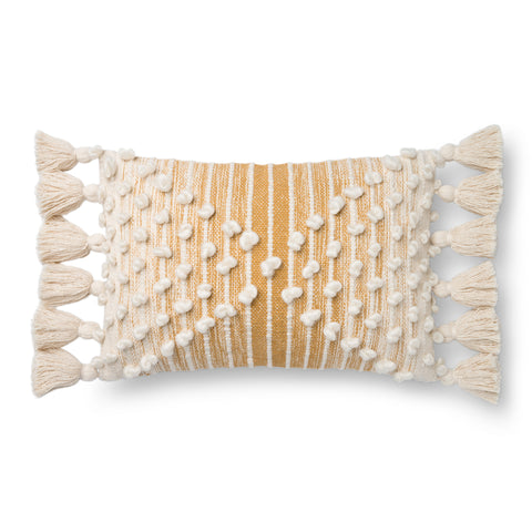 gold and white striped lumbar pillow with raised white dot detail and white side tassels