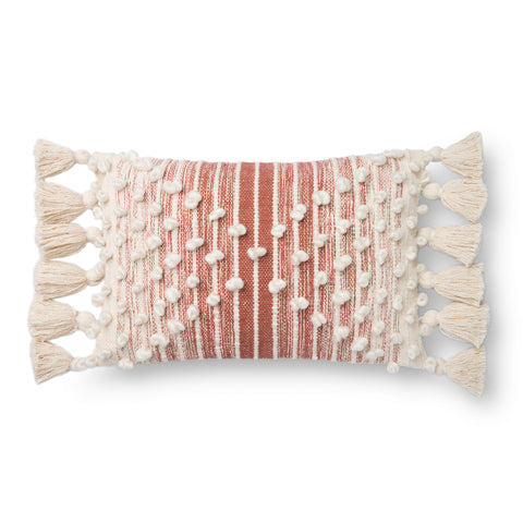 spice-red and white striped lumbar pillow with raised white dot detail and white side tassels
