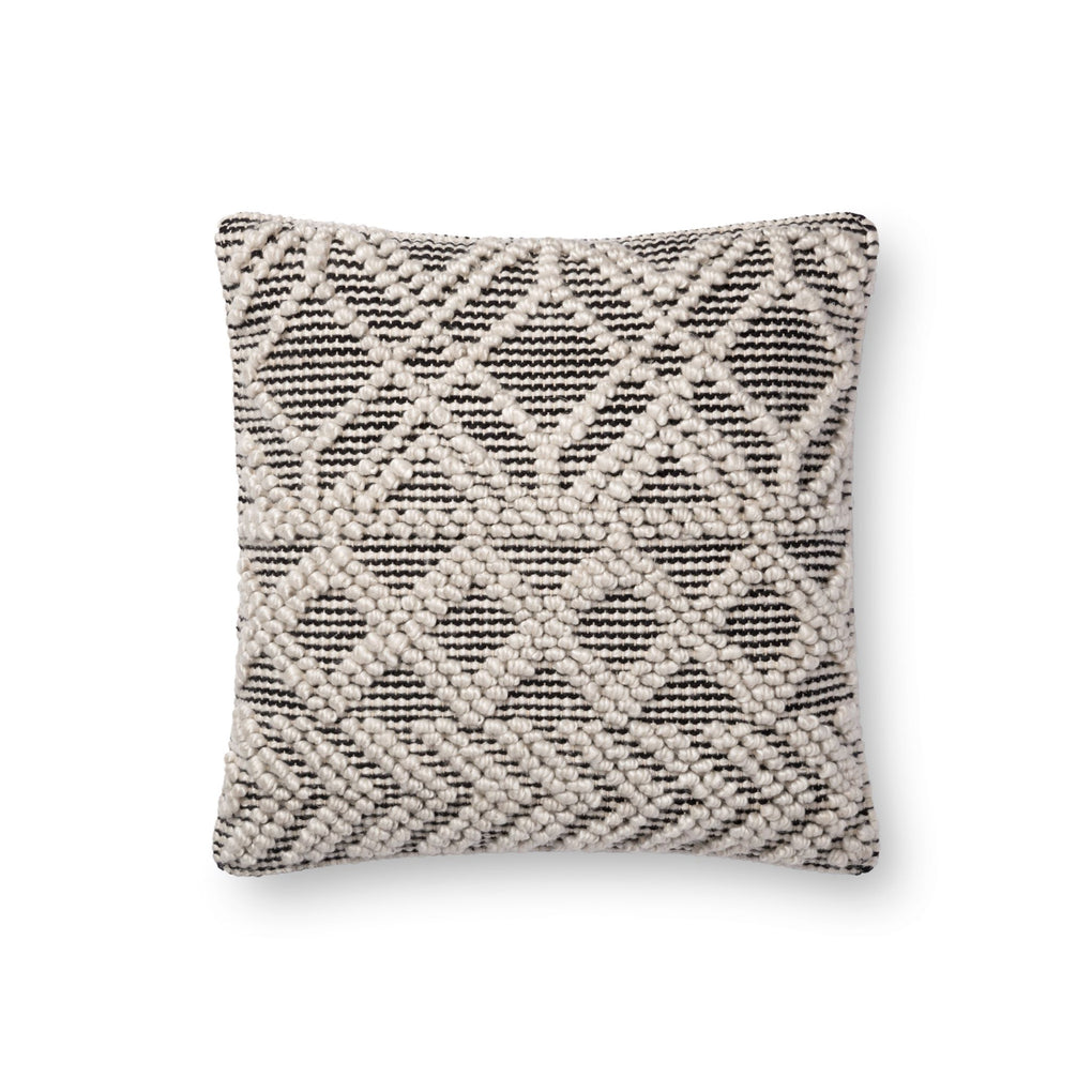 dark grey and cream pillow with raised geometric patterns