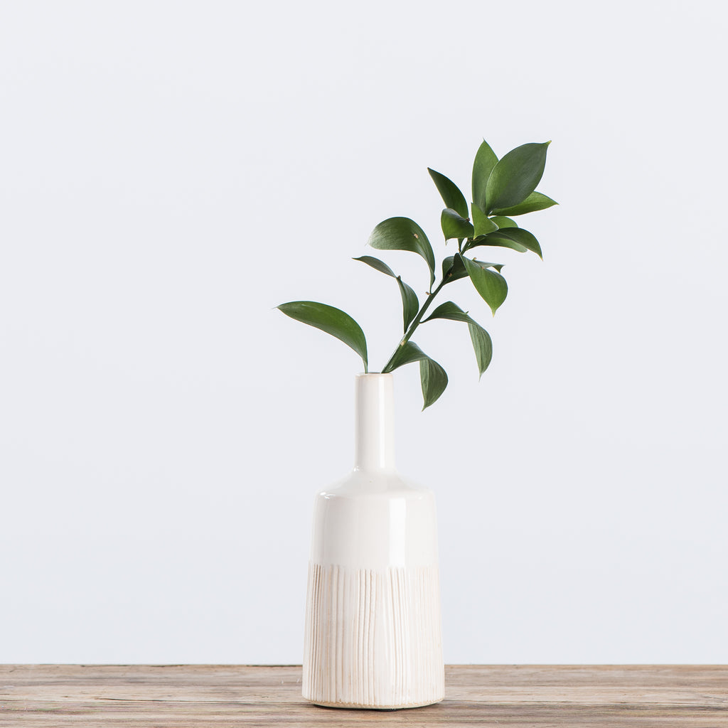 short tapered white ceramic vase