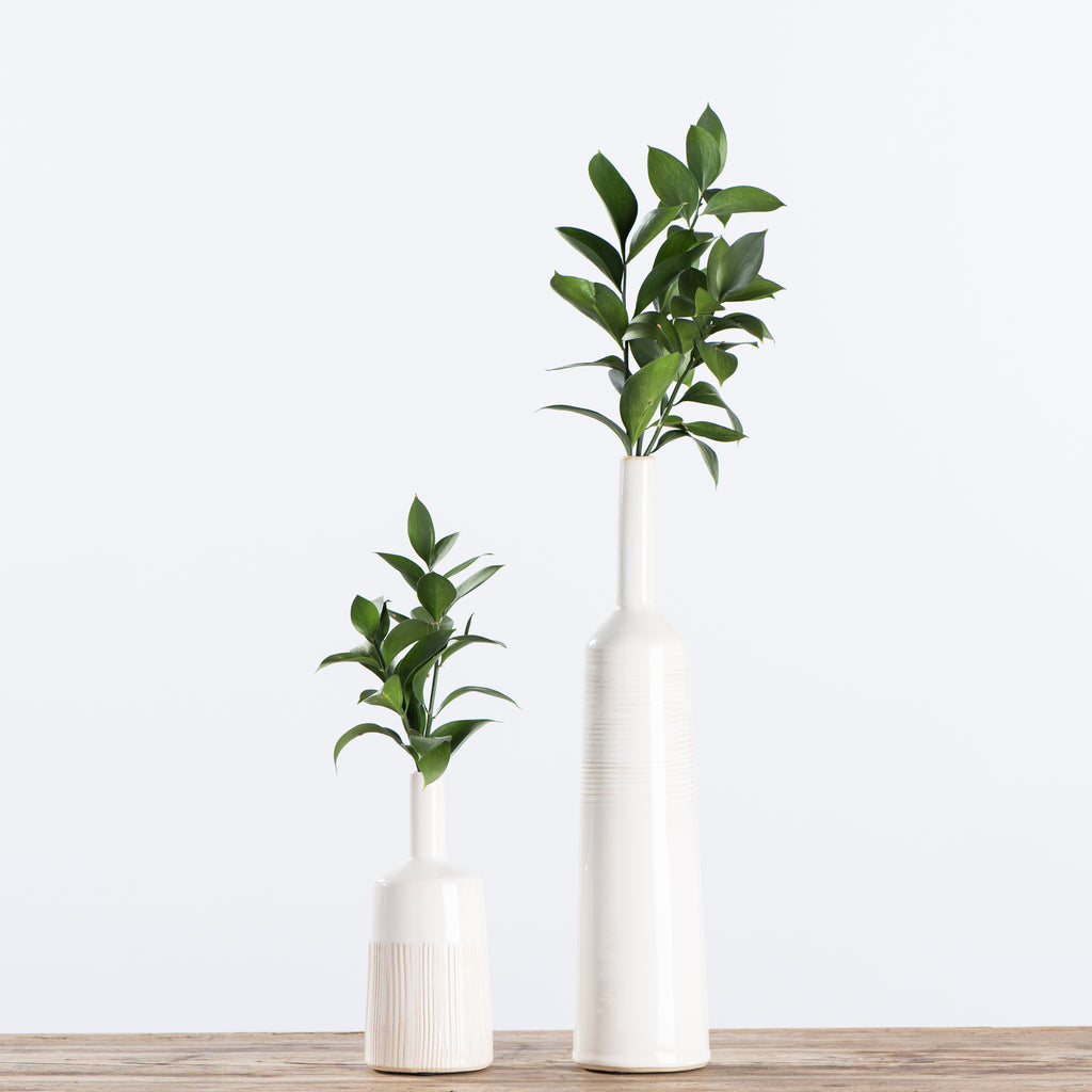 short and tall white ceramic vases