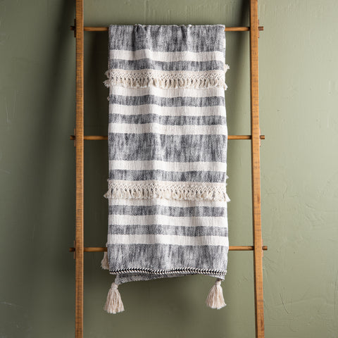 grey and ivory striped tassel throw
