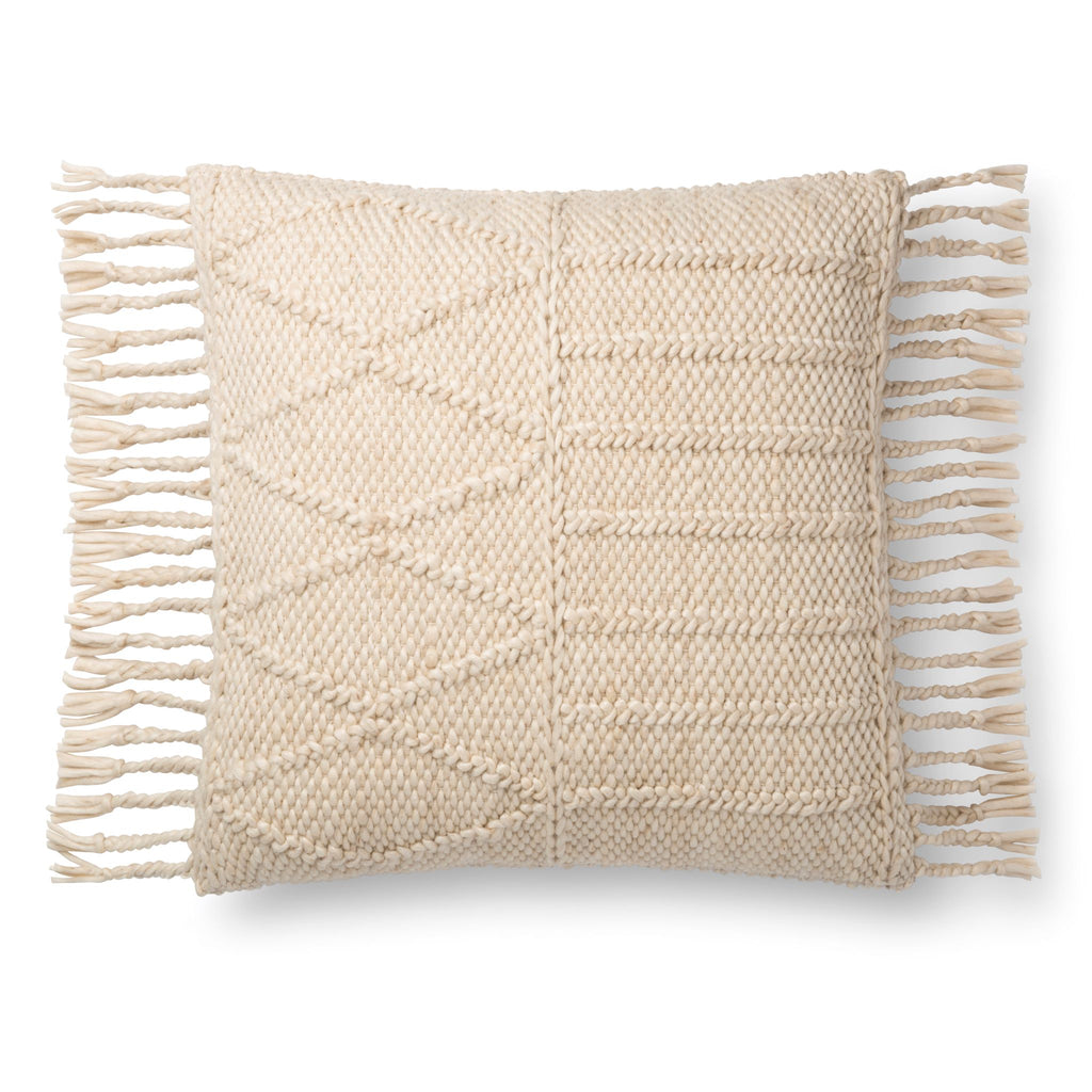 square ivory pillow with raised geometric pattern detail and tassel fringe