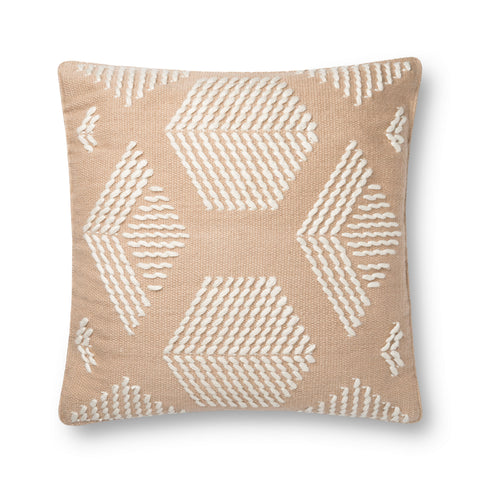 beige and cream square pillow with geometric pattern