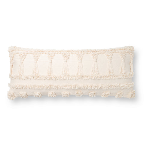large off white lumbar pillow with boho-style raised texture