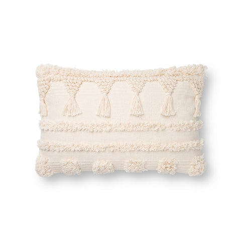 off white lumbar pillow with boho-style raised texture detail