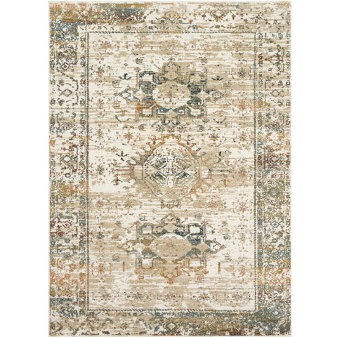 distressed ivory rug with green, blue, and mustard details