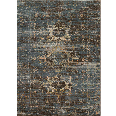charcoal and dark blue distressed area rug