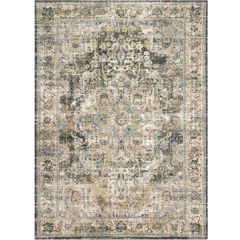 cream distressed area rug with grey and tan detail