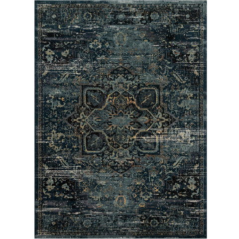 dark blue and ocean blue area rug with floral detail