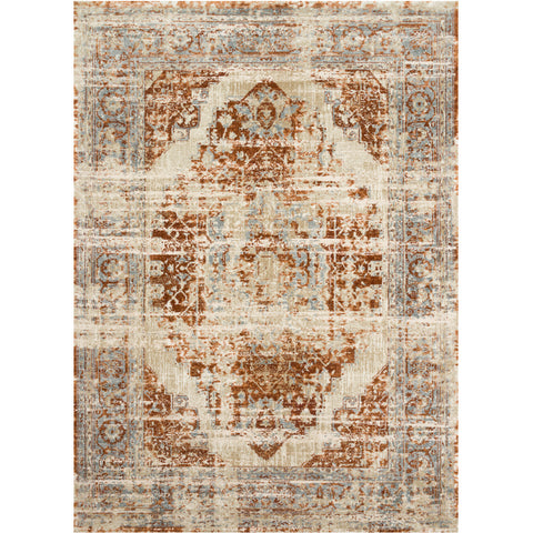 cream distressed traditional area rug with rust red and light blue detail