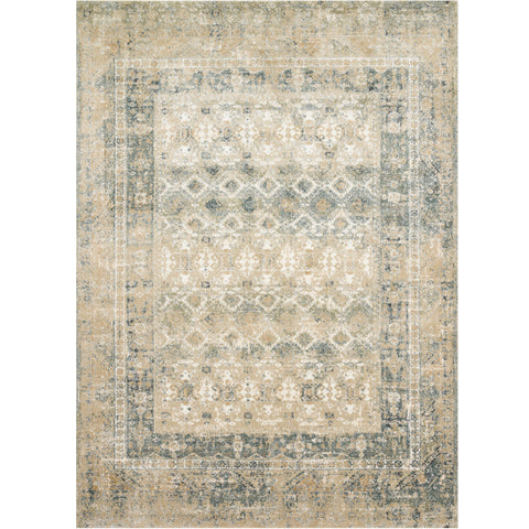 tan and cream traditional area rug with grey-blue undertones