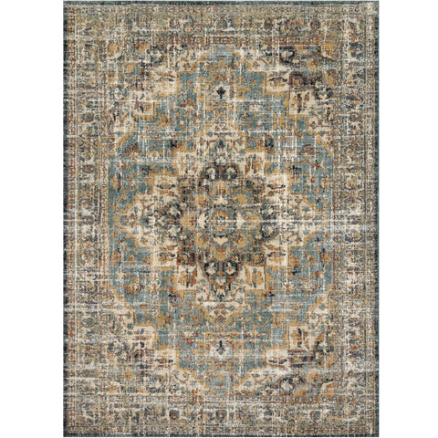 dark grey and blue traditional rug with distressed floral detail in gold and brown