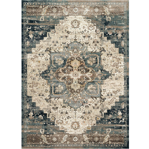 dark blue and cream area rug with varying floral detail