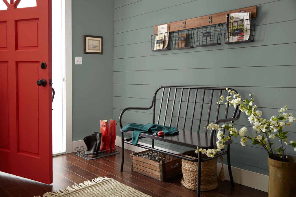 Deep gray with hues of rich blue and sage green interior paint