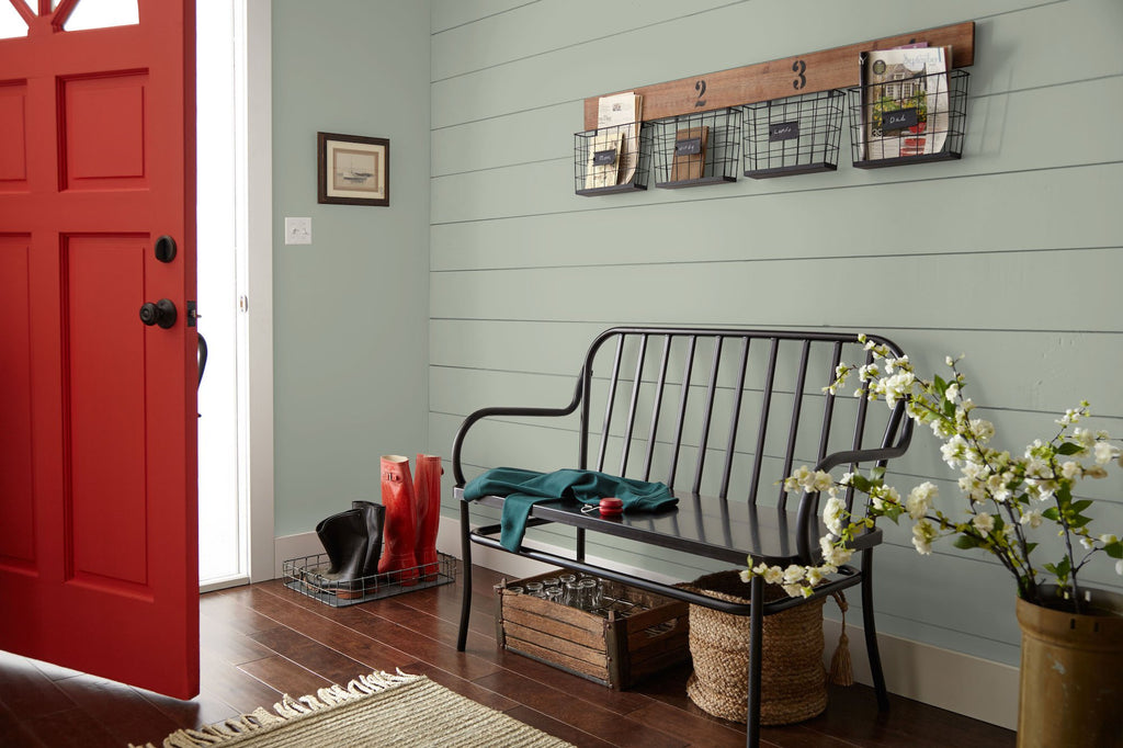 Warm chalky pale green interior paint