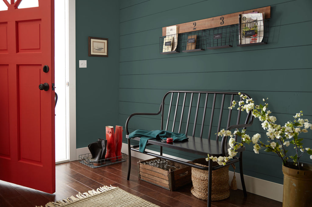 Deep olive forest green interior paint