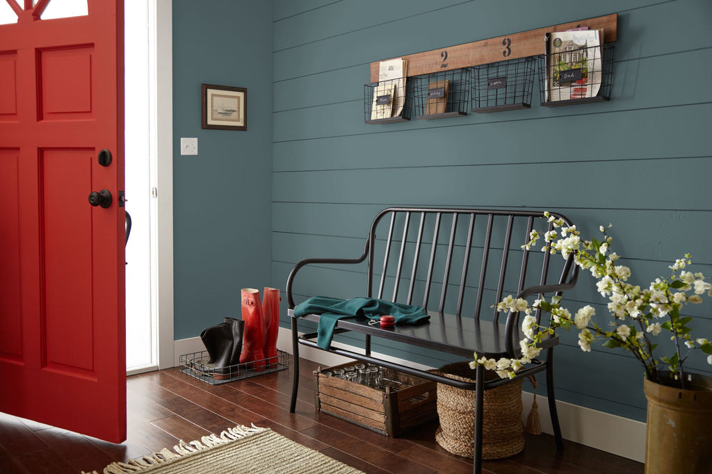 Deep dusty sea green interior paint