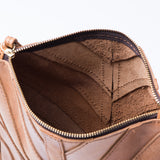 small brown leather crossbody purse with herringbone pattern stitching