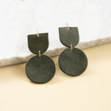 dark green leather dangly earrings
