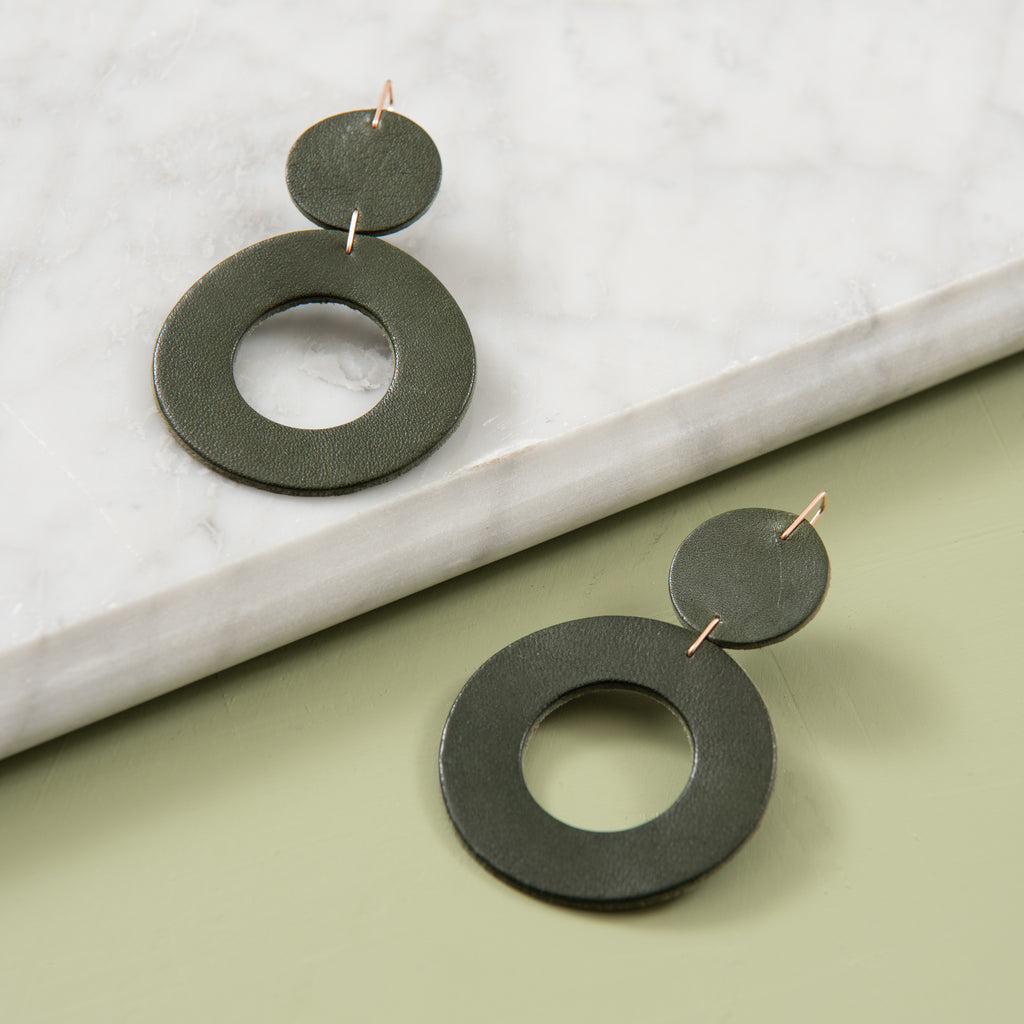 dark green leather dangly earrings with circle hoops