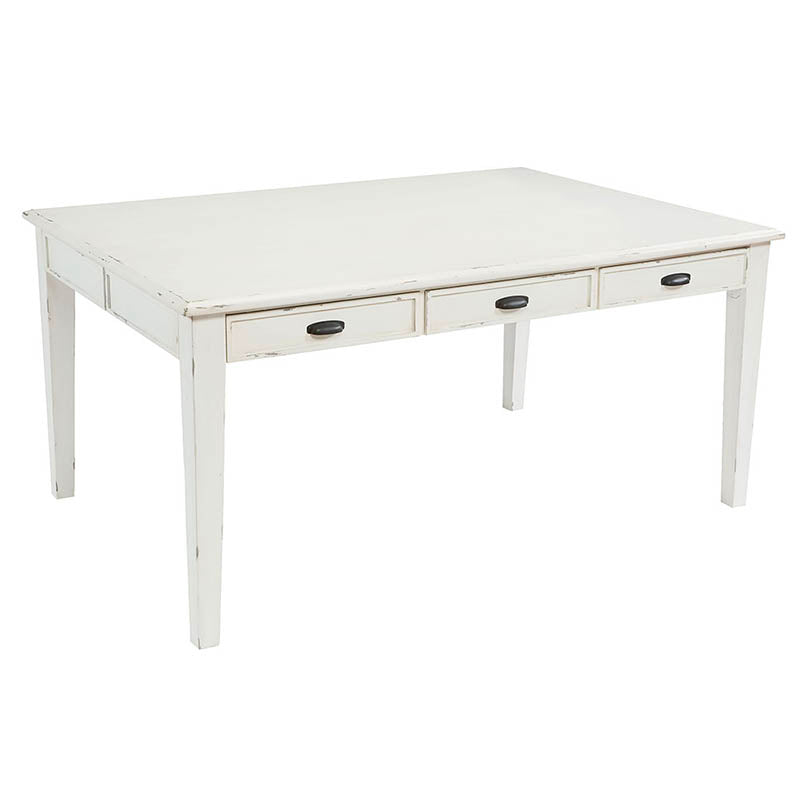 white wooden farmhouse dining table with drawers