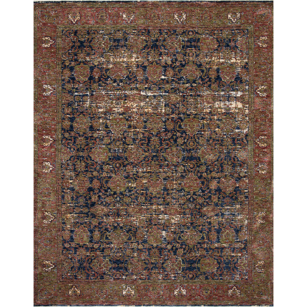 traditional patterned rug with blue and red distressed detail