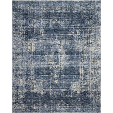 distressed blue and ivory rug