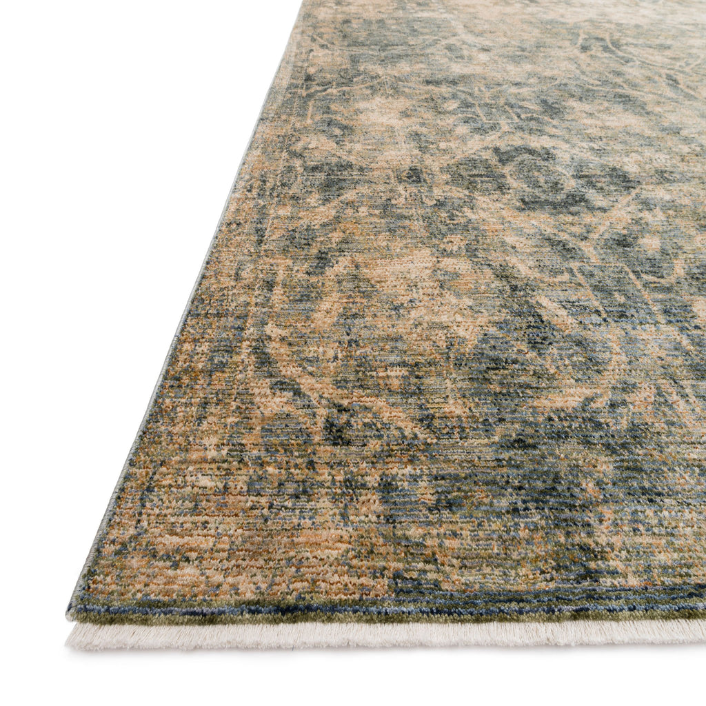 green and beige distressed rug